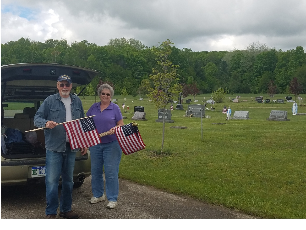 This is one of 12 cemeteries we place over 1200 flags every May.