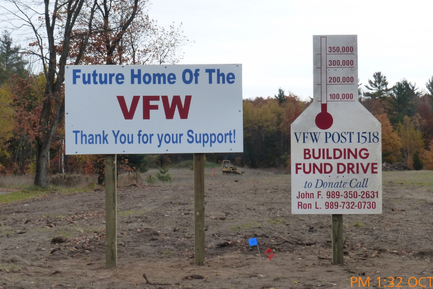 Initial fund raising signs on Old 27 acreage.